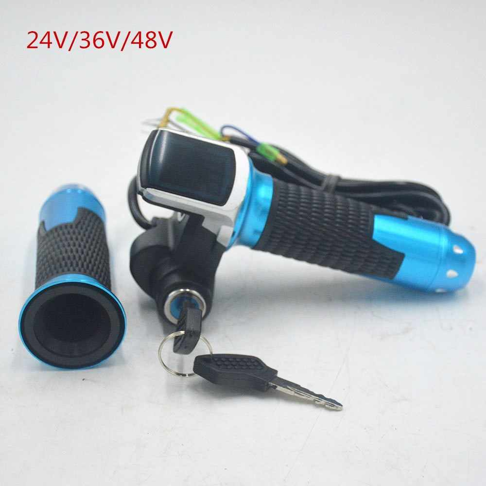24V 36V 48V e bike throttle accelerator blue gold with LCD display Indicator/ON-OFF Key Lock for electric bike/bicycle/scooter