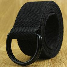 Canvas Belts For Women Men Fabric Metal Buckle Men Belt Solid D Ring Buckle Military Canvas Belt Army Tactical Black 110-150 cm