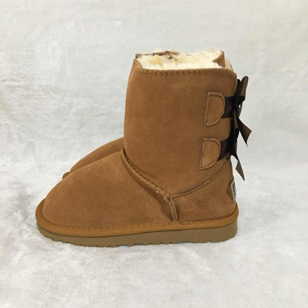 06985710be ... Australian style new winter 100% leather boots girls snow boots cute  bow back waterproof children ...