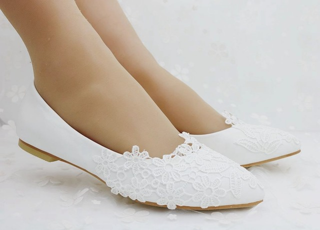 Akexiya Ballet Flats White Lace Wedding Shoes Flat Heel Casual Shoes Pointed Toe Flats Women Wedding Princess Flats Plus Size 41
