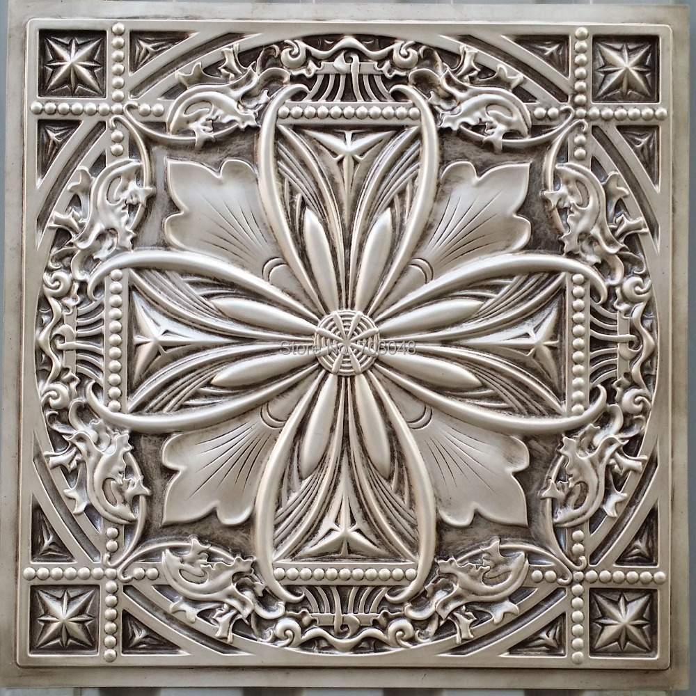 Pl10 Faux Tin Plastic Ceiling Tiles Antique White Color 3d Embossed Cafe Club Pub Decor Plastic