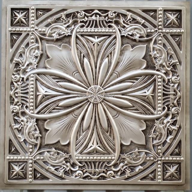 Pl10 Faux Tin Plastic Ceiling Tiles Antique White Color 3d