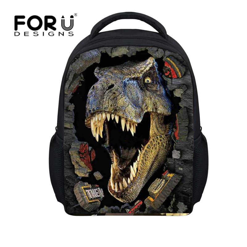 Fashion 12inch Children Backpacks 3D Animals Dinosaur Printing Kids Backpack Cool Boys Kindergarten Book Bags Mochila Infantil