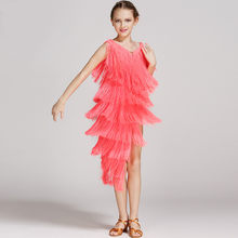 Children Professional Latin Dance Dress Girls Tassel Ballroom Dance Dress Kids Rumba Samba Salsa Dance Costume for Competition(China)