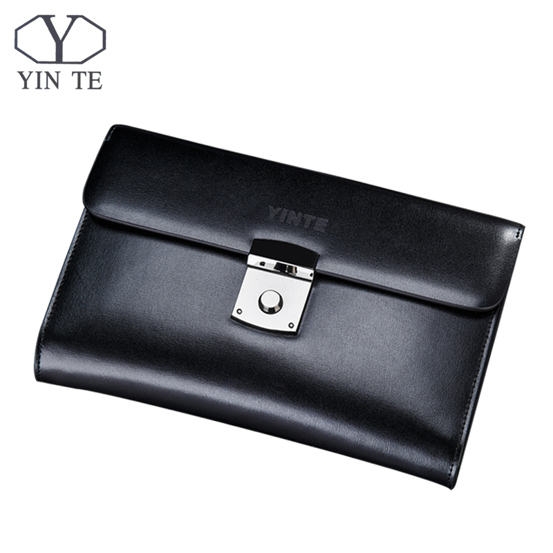 YINTE Luxury Male Leather Purse Men's Clutch Wallets Handy Bags Business Man High Quality Big Capacity Crad Holders Portfolio 2016 famous brand new men business brown black clutch wallets bags male real leather high capacity long wallet purses handy bags