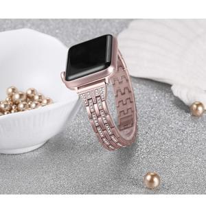 Image 3 - Für Apple Uhr Band 40mm 44mm 38 42mm Frauen Diamant Strap für Apple Uhr Serie 5 4 3 2 1 iWatch Armband Edelstahl Band
