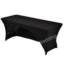 183cm לבן שחור ספנדקס לייקרה מטבח אוכל שולחן פשתן בד חתונה DJ קמור מפות שולחן מלבני כיסוי