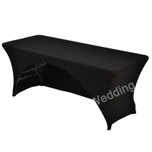 183cm White Black Spandex Lycra Kitchen Dining Table Linen Cloth Wedding DJ arched Tablecloths For Rectangular Table Cover