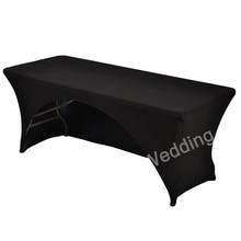 183cm biały czarny elastan Lycra stół obiadowy kuchenny pościel tkaniny ślub dj łukowe obrusy na prostokątna obrys stołu