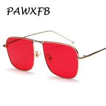 PAWXFB 2018 New Fashion Dark Red Sunglasses Women Men Luxury Mirror Sun Glasses Brand Designer Eyeglasses Vintage Oculos de sol