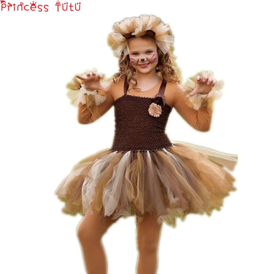 Baby Toddler Girl Birthday Party Tutu Dress Autumn Christmas Girl Dress Suit Halloween Cute Lion Animal Costume Set Girl Dress girl