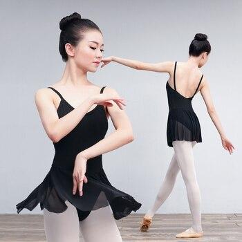 f3b54e52e Leotardo de Ballet de una pieza para adultos vestido de mujer sin mangas de  gimnasia Ballet danza leotardo con faldas de malla trajes de bailarina
