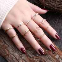 Bohemian Elephant Moon Star Flower Rose Heart Crown Rings Set Gold Silver Crystal Knuckle Finger Midi Ring for Women Jewelry