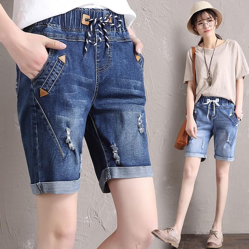 Hot 2018 Summer Women Grandes Bermuda Jeans Fashion Casual Reta Jeans Buraco Soltas Para Mulheres 55-100 Kg Plus Size 5xl   Shorts