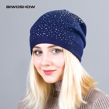 Warm Female Winter Beanie Hats Wool Knitted Caps Women Flashing Rhinestone Bonnet For Girl Skullies Hat Touca Feminina Inverno(China)