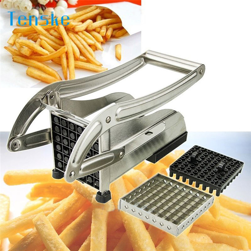 TENSKE Stainless Steel French Fry Cutter Potato Vegetable Slicer Chopper Dicer 2 Blade U70519
