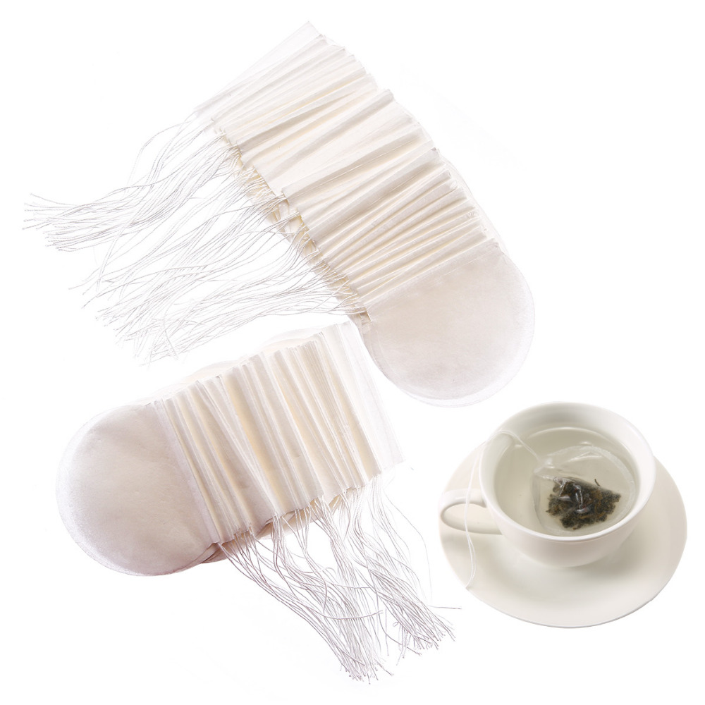 100 Pcs/lot Tea Bag Round Nature Filter Paper TeaBag Empty Heal Seal Filter Paper Tea Bags Herb Loose Tea Infuser With String
