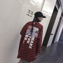 Fashion vintage HARAJUKU color block check behind the personality applique letter plus size POLO collar long-sleeve dress