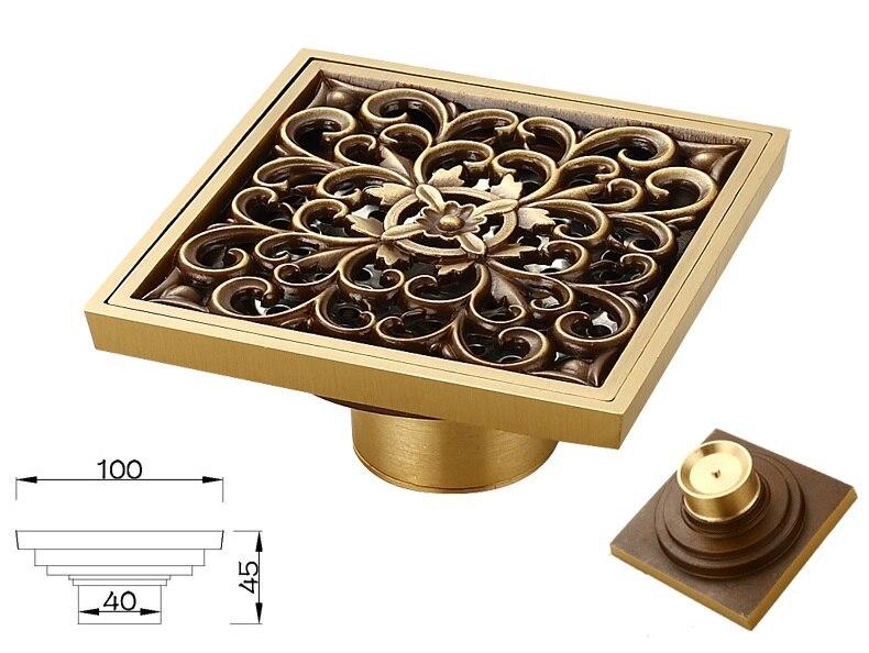 2Pcs/Lot  4 (10*10CM) Brass Floor Drain  Shower Drainer Deodorized Short Deodorizer  T Type newly euro style rectangle gold polished shower drainer long floor drain gound drainer 90 10cm