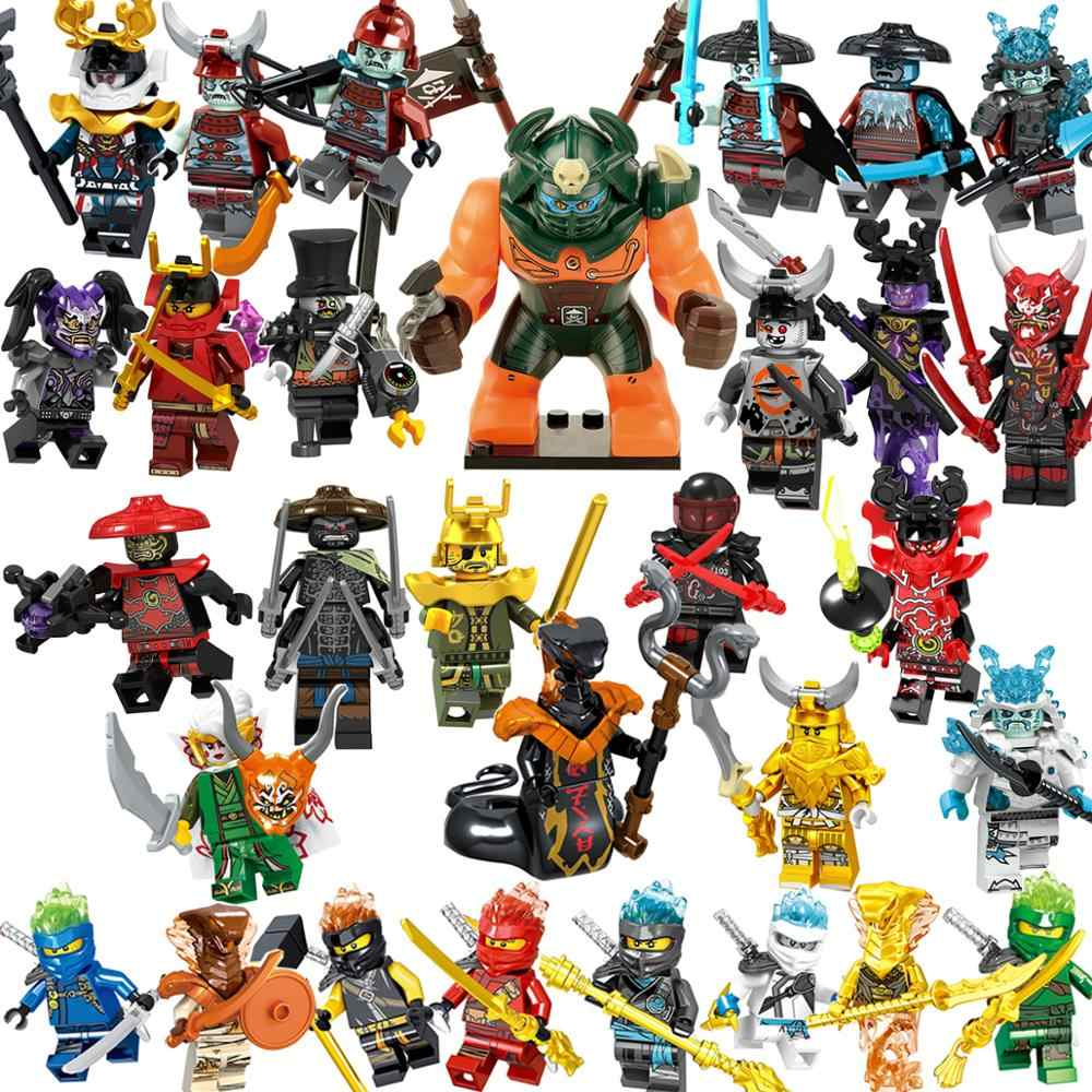 Single sell   Marvel  Ninja  Figures Blocks Nya Jay Zane Kai Cole Harumi Samurai X Action Figures Toys For Child