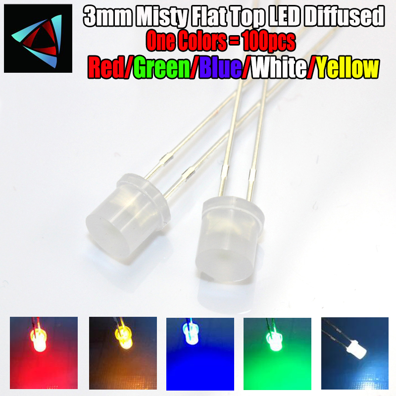 100 Pcs 3mm 3 Leg Round Head Red Blue Diffused Light Emitting Diode Lamp LEDs
