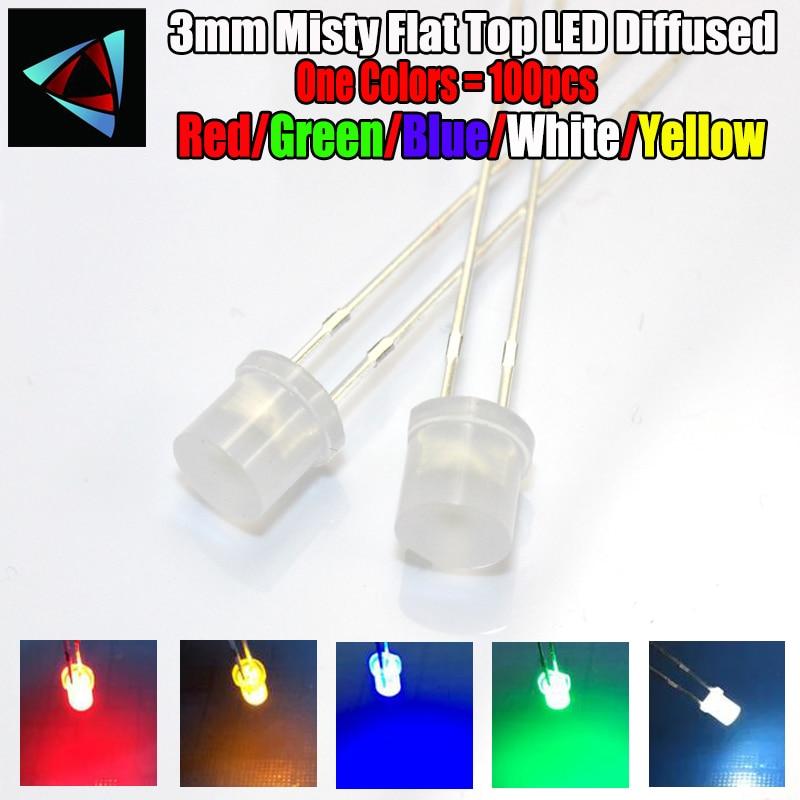 100 шт. 3 мм 2 контакта туманные плоские светодиодные диффузорные белые красные желтые синие зеленые широкоугольные светоизлучающие диодные ...