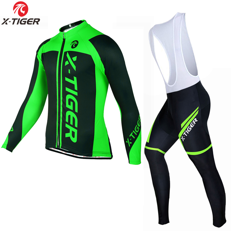 X-Tiger 2017 Cycling Jersey <font><b>Sets</b></font> Long Sleeve Mountain Bike Clothes Wear Maillot Ropa Ciclismo Quick Dry Racing Bicycle Clothing