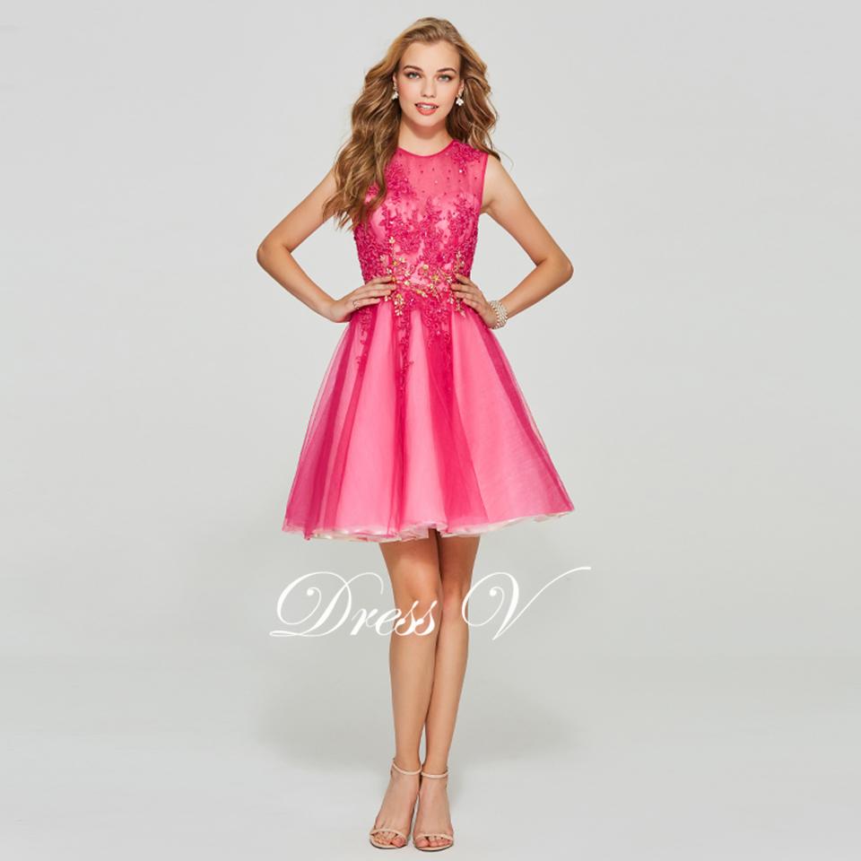 Dressv Rosa vestido de fiesta corto Scoop cuello vestido de bola ...