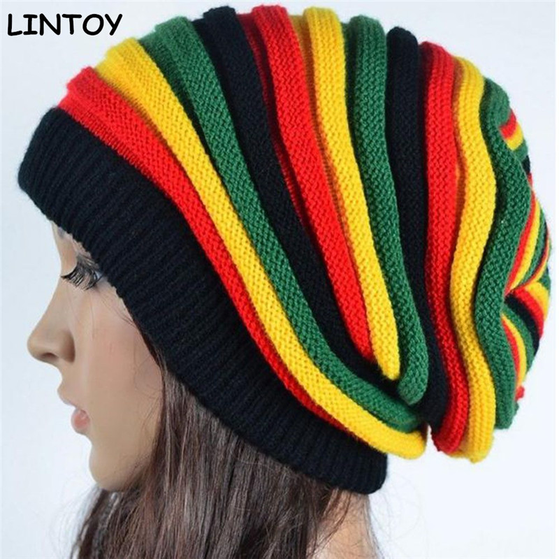 Jamaica Reggae Gorro Rasta Style Cappello  Men's Winter Hats Female Red Yellow Green Black Fall Fashion Women's Knit Cap