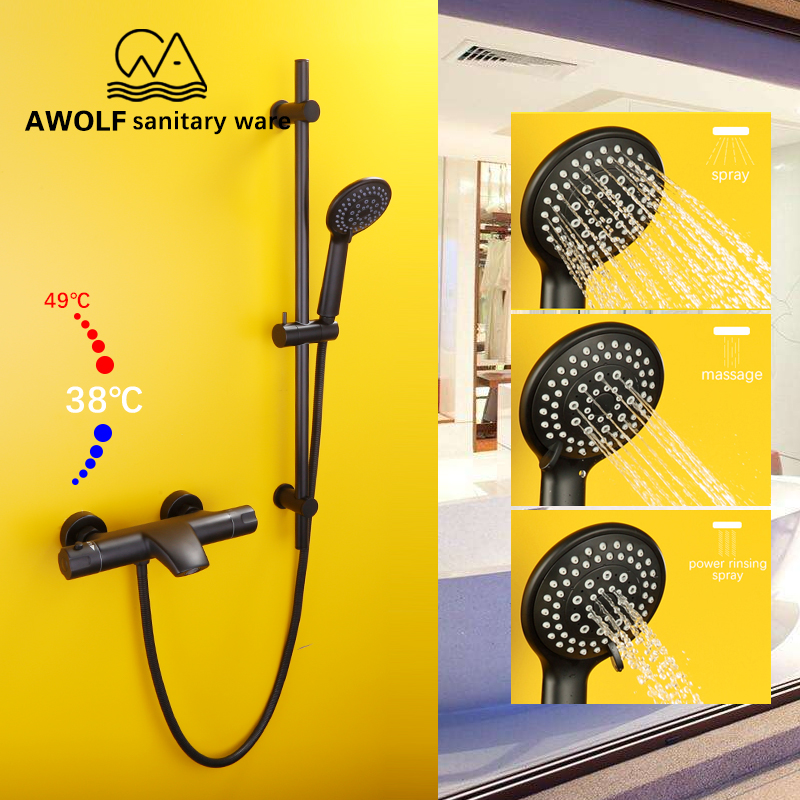Luxury Thermostatic Shower Set Smart Bathtub Faucet With Sliding bar Wall Mounted Mixer Tap System Bathroom