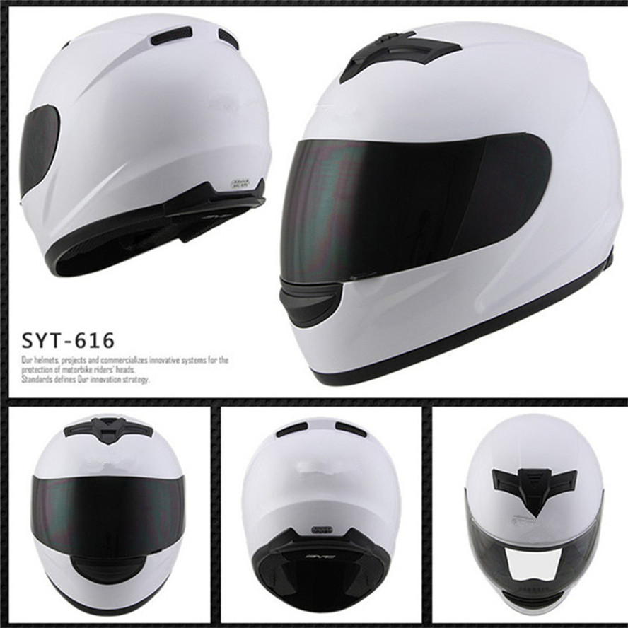 Casque moto homme equitation voiture quatre saisons cool moto avec queue moteur voiture hiver casque blanc