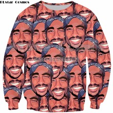 PLstar Cosmos New style 2pac Funny  hoodies 3D print Shirt O-Neck Short Sleeve Interesting characters Sweatshirt