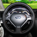 Hand-stitched Black Leather Steering Wheel Cover for Infiniti  QX50 G25 G35 G37 EX25 EX35 EX37 2008-2013