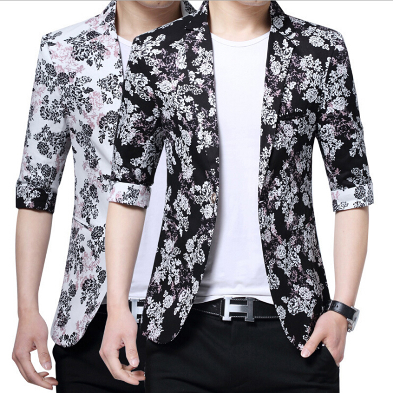 2017 Summer Fashion Male Short Sleeve Men Floral Blazer Flower Printed Suit Jacket Casual Slim Fit Design