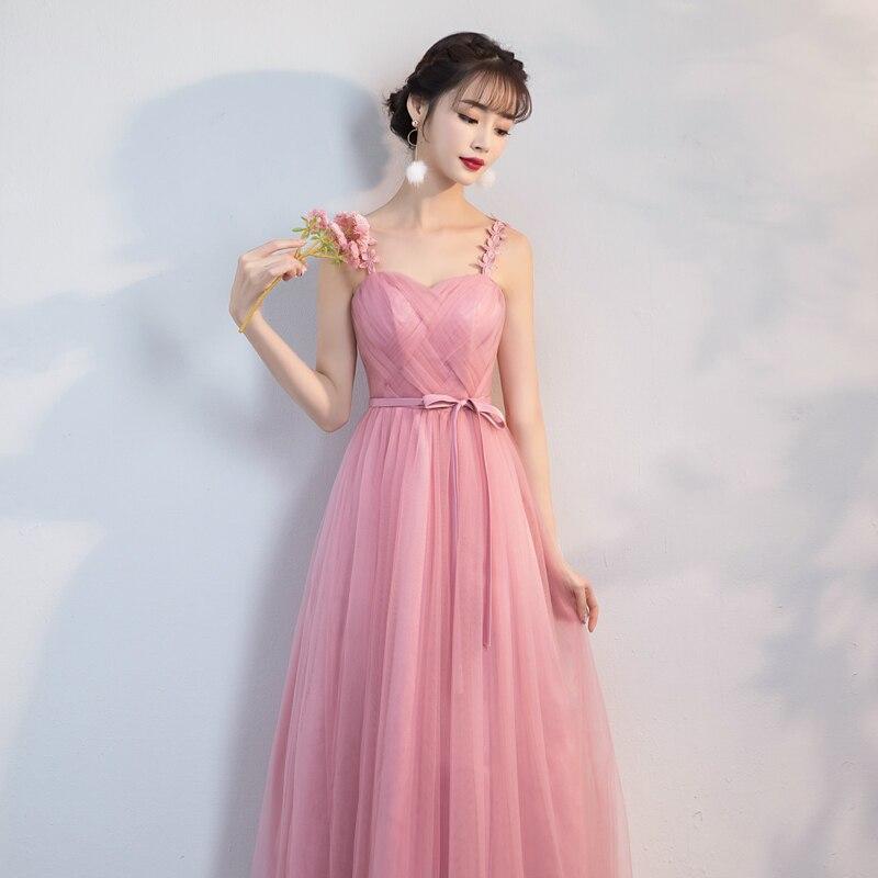 Floral Retro   Dress   Red Bean Pink Long Yarn Mesh   Bridesmaid     Dresses   Women Wedding Party   Dress   Back of Bandage
