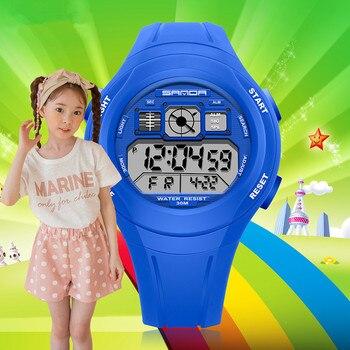 นาฬิกาเด็ก SANDA นาฬิกาเด็กน่ารักกีฬานาฬิกาการ์ตูนเด็กหญิงเด็กดิจิตอลดิจิตอล LED นาฬิกาข้อมือ Reloj-ใน นาฬิกาข้อมือเด็ก จาก นาฬิกาข้อมือ บน