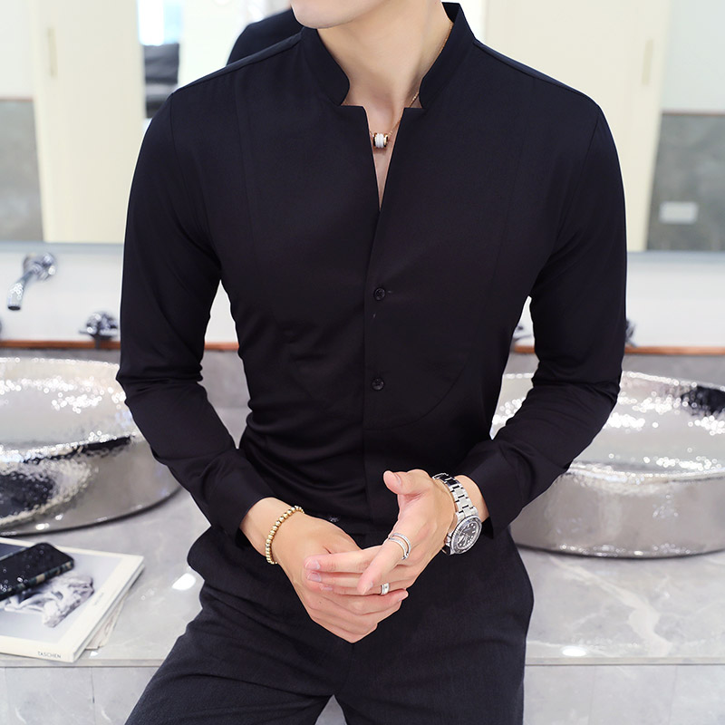 Fall Winter Stand Collar Mens Long-sleeved Dress Shirts Black Red White Slim Elegant Youth Male Business Wedding Formal Shirt