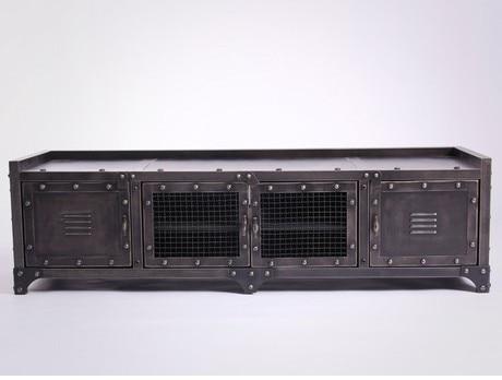 Metalen Tv Kast : ≥ uniek industrieel metalen tv meubel met steigerhout kasten