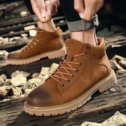 Демисезонный Мужская обувь чёрный; коричневый Для мужчин s сапоги Martens удобные рабочие безопасные ботинки на резиновой подошве ботильоны