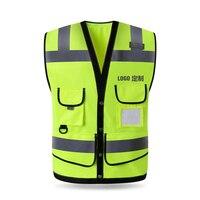 Строительство светоотражающий жилет флуоресцентный желтый безопасности светоотражающий жилет логотип компании печать бесплатная достав...