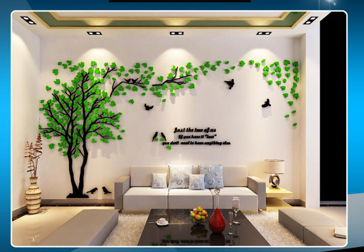 Leaves birds crystal three-dimensional Tree wall stickers acrylic sofa wall stickers Decor for Home DIY Self-adhesive Removable