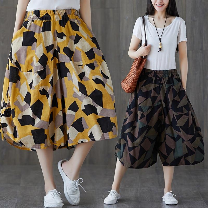 Summer Pants Women Print Flower Pattern Wide Leg Loose Linen Dress Pants Womens Casual Trousers Capris Harem Pants