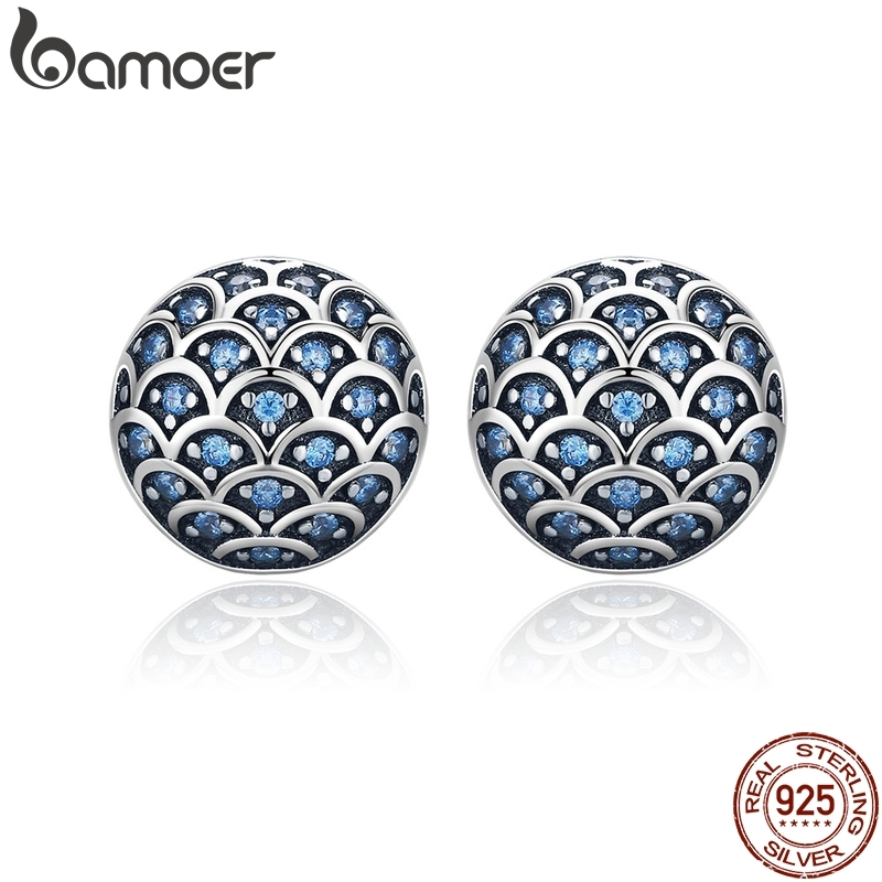 BAMOER Genuine 100% 925 Sterling Silver Legend Of The Sea Clear CZ Small Stud Earrings For Women Sterling Silver Jewelry SCE239