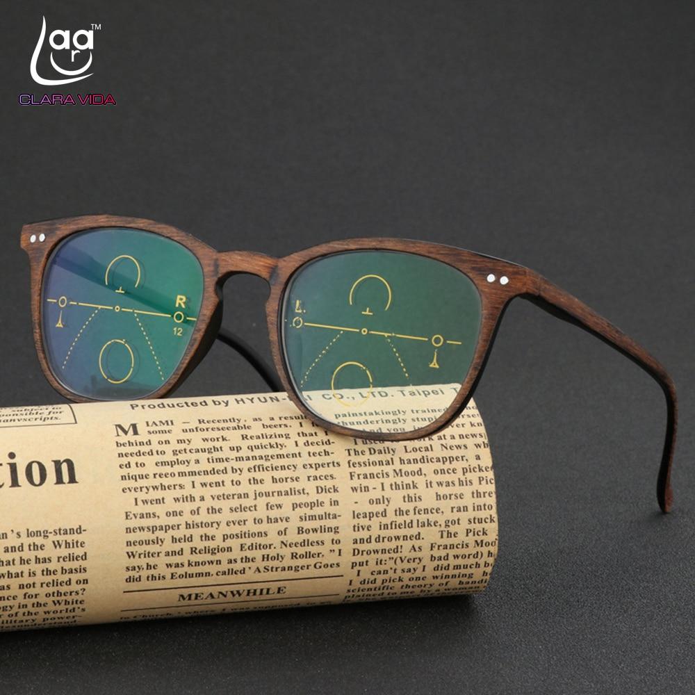 CLARA VIDA = Retro Faux Wood Grain Frame Intelligence Progressive Multifocal Commercial Reading Glasses Bifocal +1 +1.25 TO +3