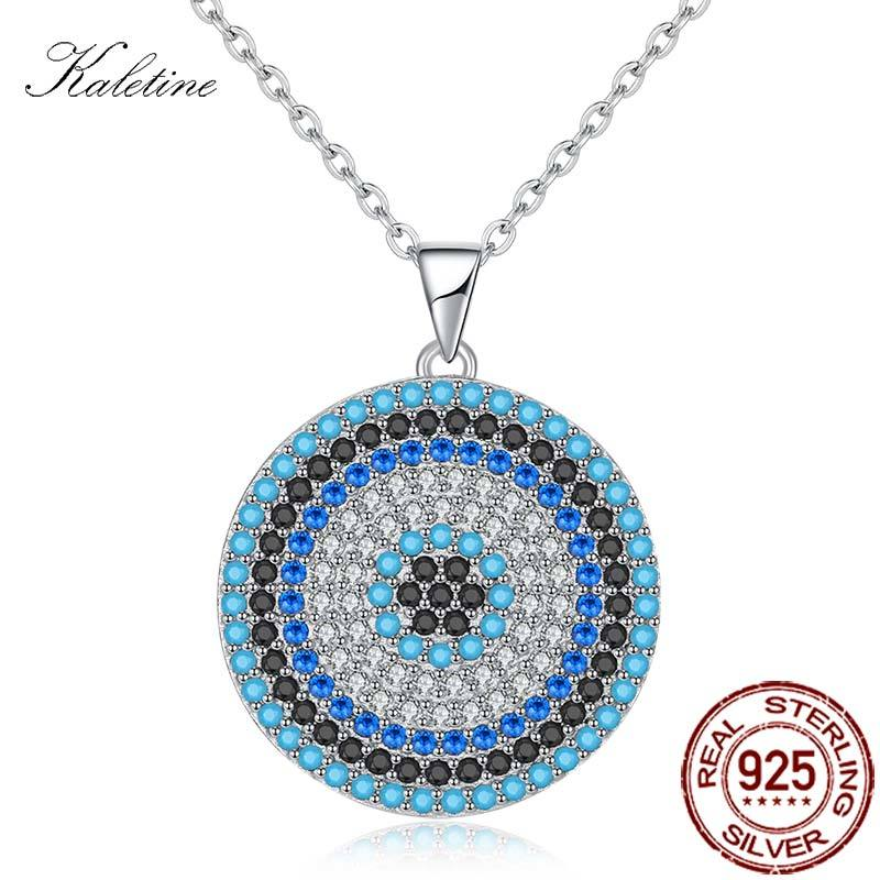 KALETINE 925 Sterling Silver Necklaces Crystal Turkish Evil Eye Round Infinity Pendant Necklace Women Jewelry Men Custom KLTN069 eudora authentic 925 sterling silver evil eye pendant necklace vintage retro fashion jewelry for women men party accessories