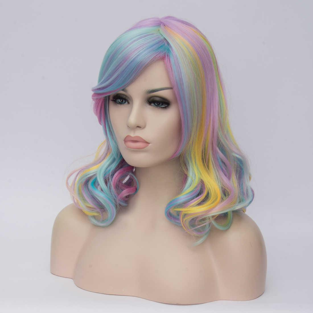 Similler 14 дюймов женский короткий костюм кудрявые радужные волосы Косплей вечерние синтетический парик + парик cap (многоцветный)