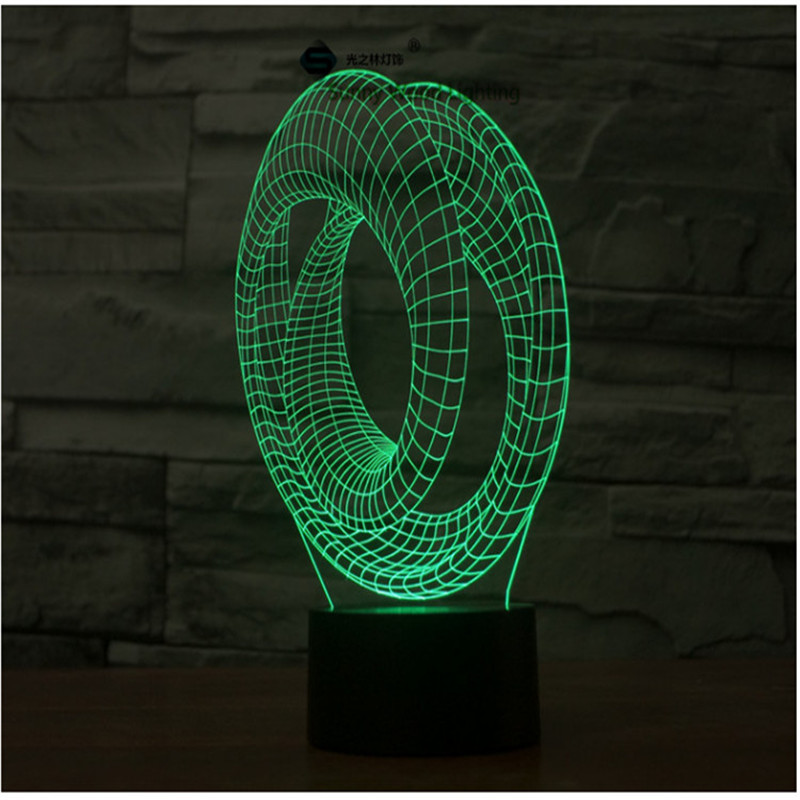 Fash Ring touch switch LED 3D lamp ,Visual Illusion 7color changing 5V USB for laptop, desk decoration toy lamp