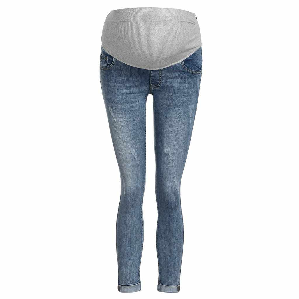 a9ca7a13928b ... jeans for pregnant women Ripped Jeans Maternity Pants Trousers Nursing  Prop Belly Legging pregnancy maternity clothes ...