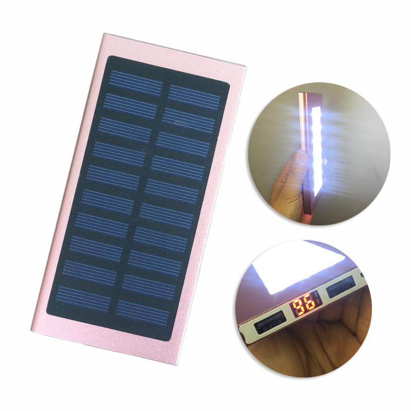 10000mAh 21LED lights Solar Power Bank Quick charger Bank with LCD External Solar Panel for mobile