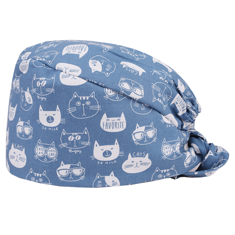 Cat Medical Surgical Caps Dentist Pet Doctor Work Hats Scrub Caps For Women And Men Calico Cats Print Gray Tieback Round Top